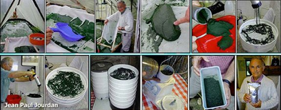 Jean Paul Jourdan shows how to harvest, dry and package spirulina grown at his personal microfarm.