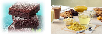 Algalin™ chocolate brownies, flour, oil and nutritional drinks
