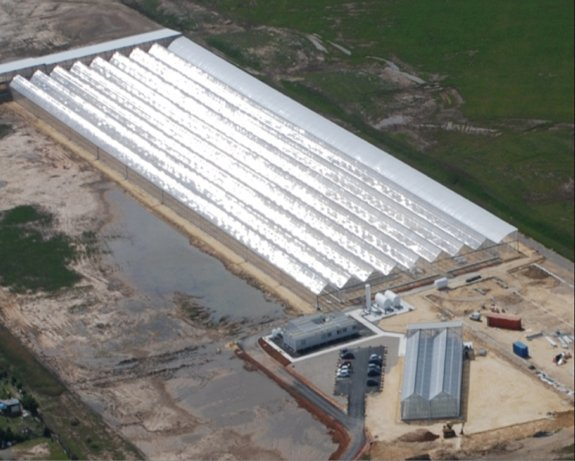 Aerial view of EXELERIA/BTME microalgae production facility