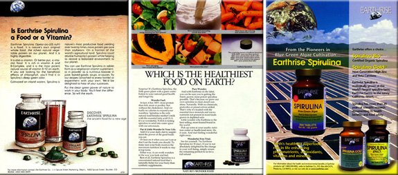 Presenting spirulina to the US natural food market, showing an evolution of Earthrise ads and products over two decades: 1981, 1990, 1997.