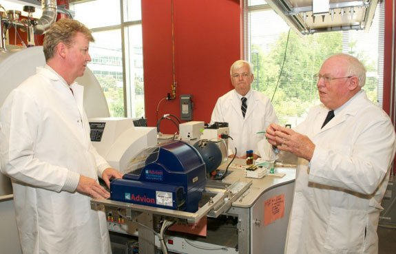 John Moriarty (left), Ray Grover of Nutrients Plus, and Patrick Hatcher in ODU's College of Sciences' Major Instrument Cluster laboratory.