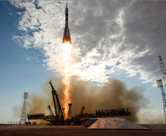 Soyez rocket launching from the Baikonur Cosmodrome in Kazakhstan