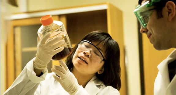 Nina Lin, assistant professor of chemical engineering, and Michael Nelson, a PhD student in Lin's group, are studying how to make fertilizers more efficient in algae cultivation.