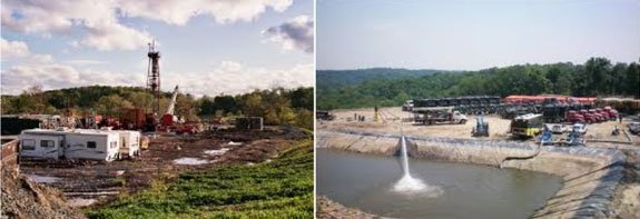 (Left) Fracking Well, (Right) Frack Pond